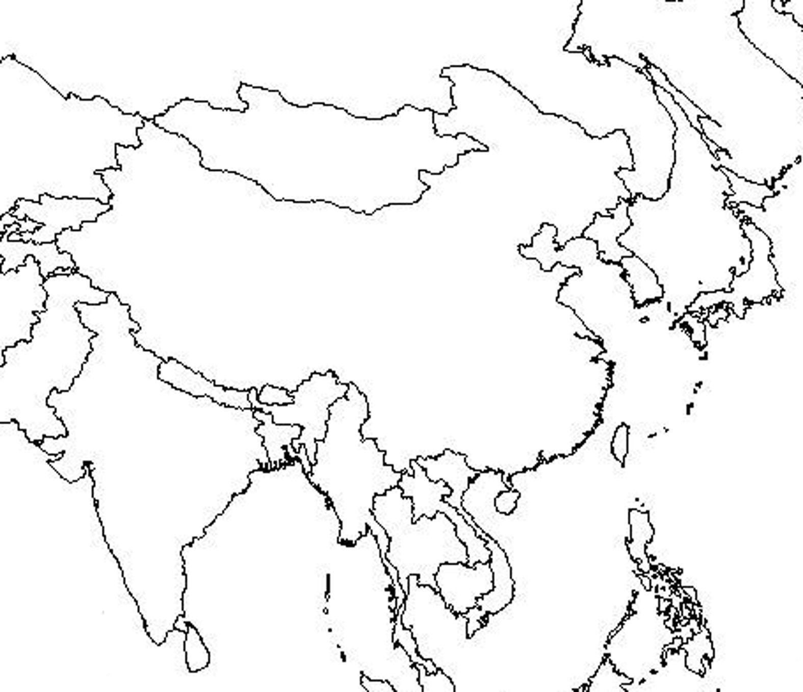 outline map of asia and middle east free printable coloring page