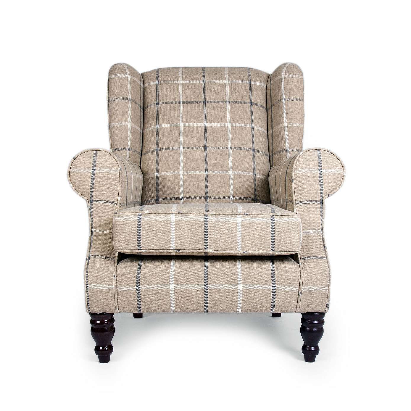 Chartwell Colorado Check Wing Back Armchair Dunelm