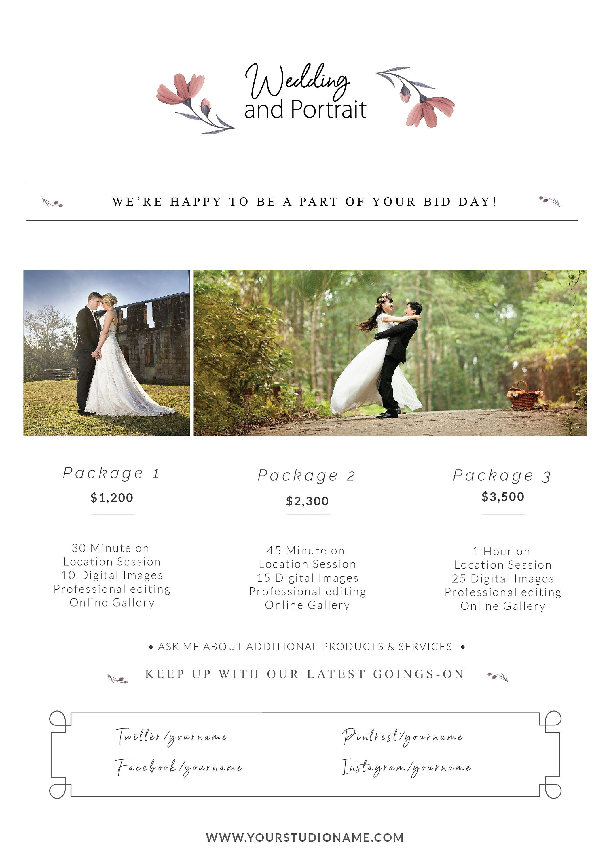 Wedding Photography Pricing Template, Price Guide List for