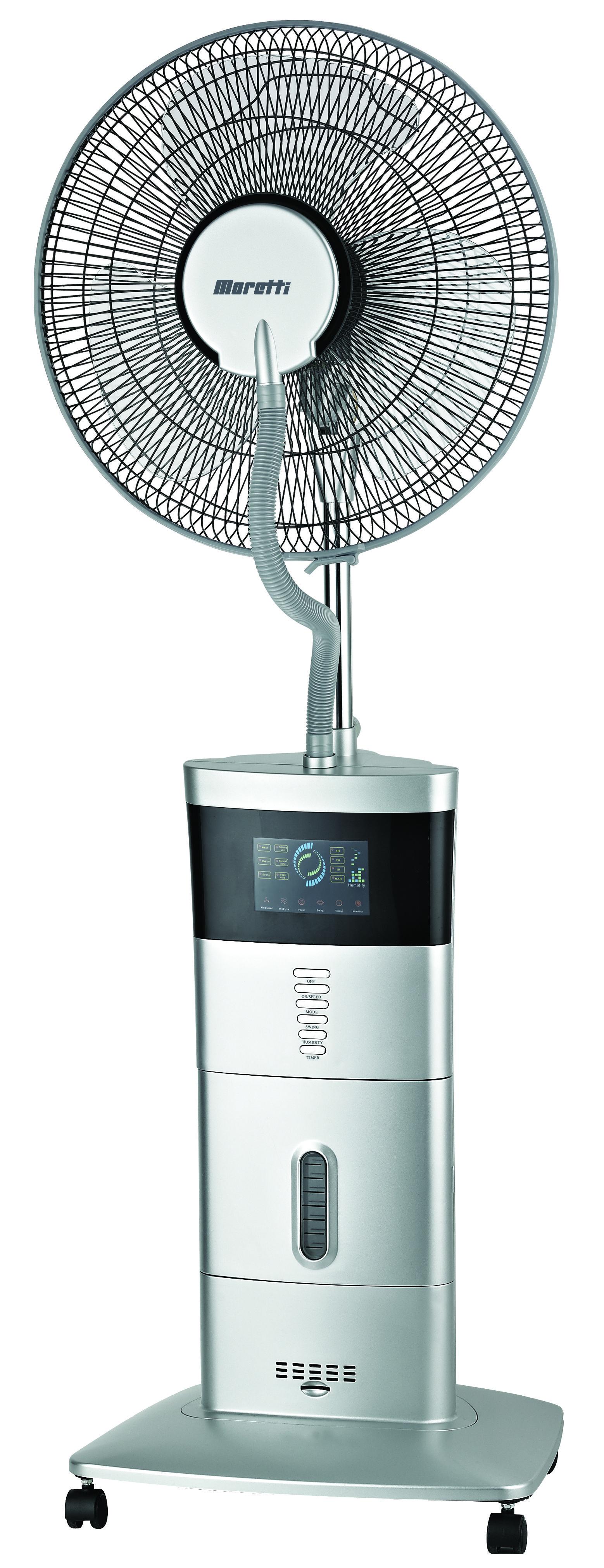 Moretti 40cm Silver Misting Pedestal Fan
