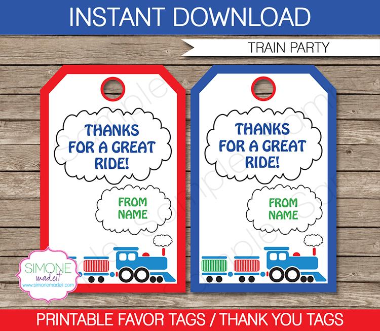 Train Party Favor Tags template | Train party favors, Party favor ...