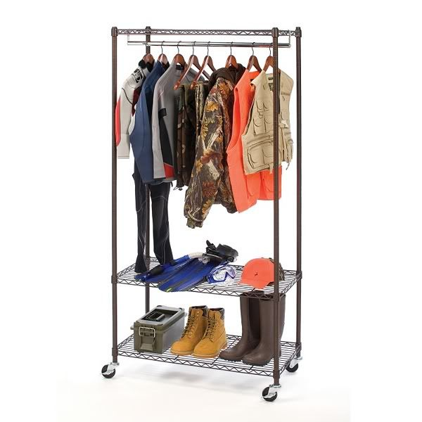 Wheeled Steel Garment Rack With 3 Shelves, 2 Hanging Rods, And Zippered  Cover