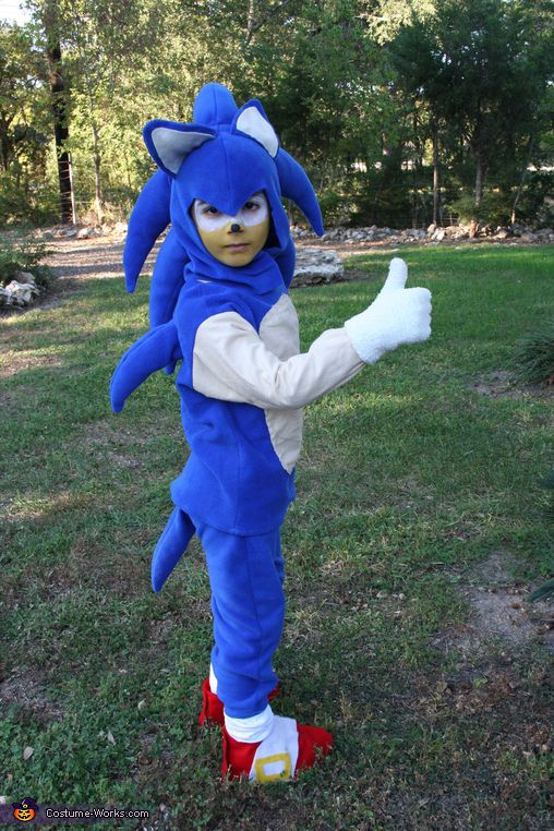 Marcie: Emilio, my son, wanted to be Sonic the Hedgehog this year, his idea, loves the game. Had no idea where to start, but bought 2 yards blue flannel and started...