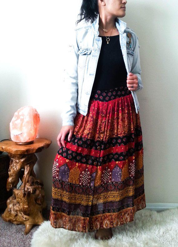 775002dc11 Vintage Eclectic Gypsy Skirt With Button Down, Red Boho Skirt, Hippie Skirt,  Long Loose Skirt, Boho