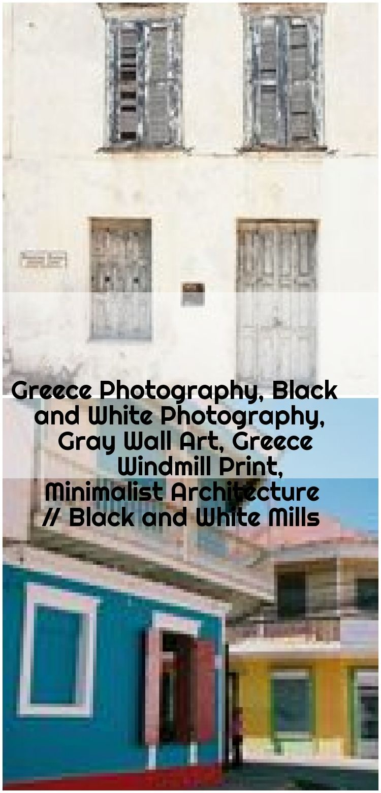 Greece Photography, Black and White Photography, Gray Wall Art, Greece Windmill Print, Minimalist Architecture // Black and White Mills , Greece Photograph Neutral Home Decor Beige Cream Gray Wall Art Rustic Door Print