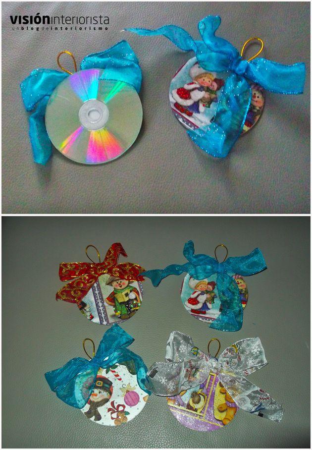Diy adorno de navidad hecho con un cd manualidades - Adornos de navidad con material de desecho ...