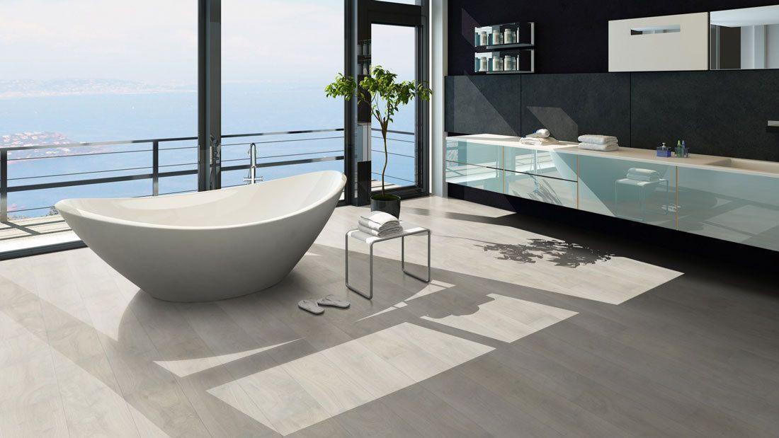 Meister Laminat Premium LD 300 l 20 Melango Eiche weiß 6139 - Laminat Grau Wohnzimmer