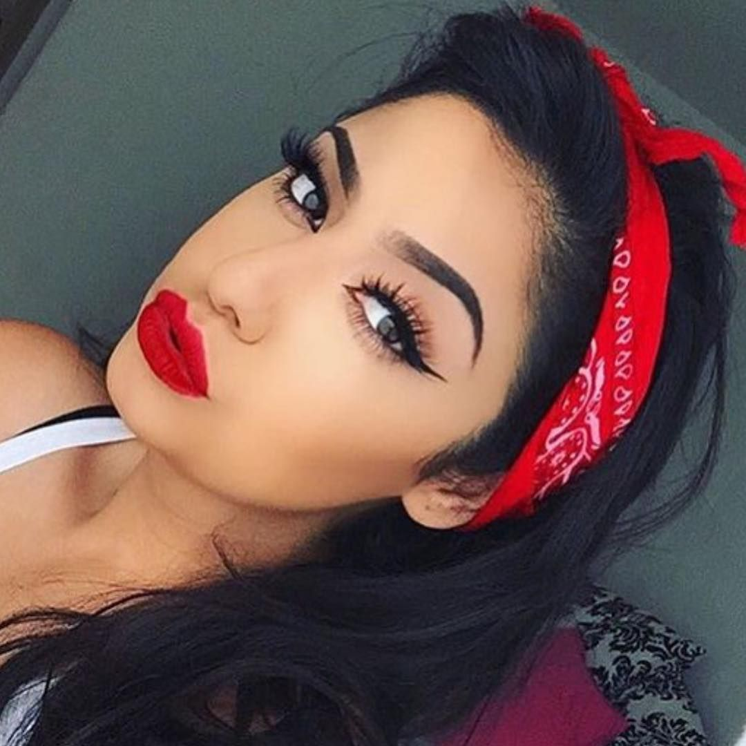 """Pin Up Glam is so necessary now and again ❤️ @sincerely_mels is so gorgeous with a matte red lip + crisp winged liner!! #morphegirl #makeupinspiration"""
