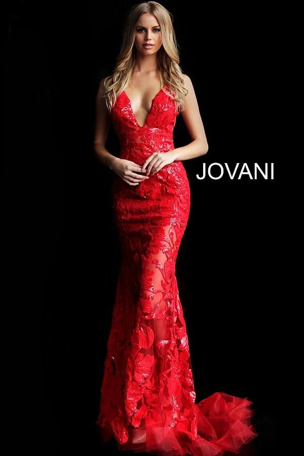 7286030fd7d4 Look like fire in the Jovani 60283!! This fitted red lace dress is covered