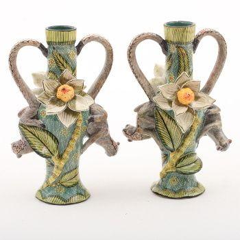 Ardmore ceramics: Pair of Monkey & Magnolia Candlesticks