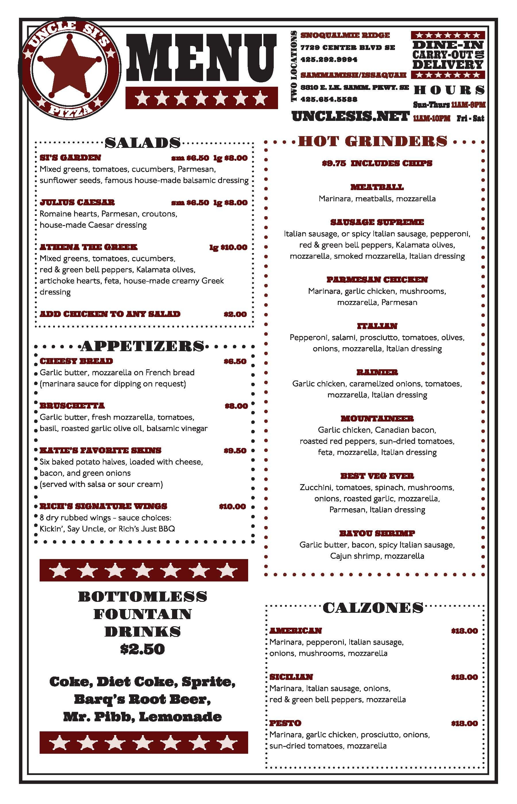 Uncle Si\'s Pizza - new Laminated Menu (side 2). http://www.unclesis ...