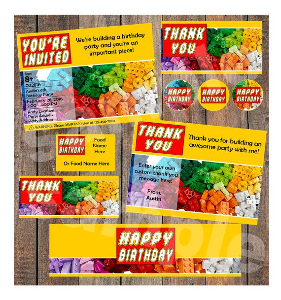 Lego Birthday Instant Party Package Template - (Invitation, Thank ...
