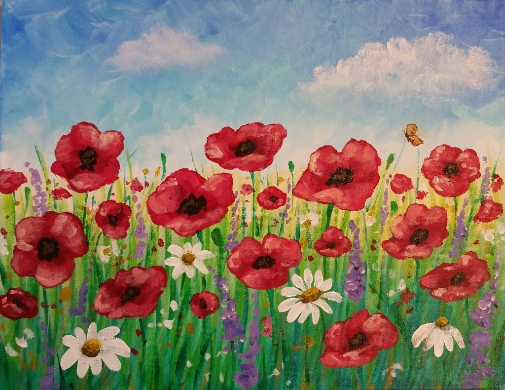 Easy poppy field painting time lapse acrylic tutorial - How to paint poppy flowers ...