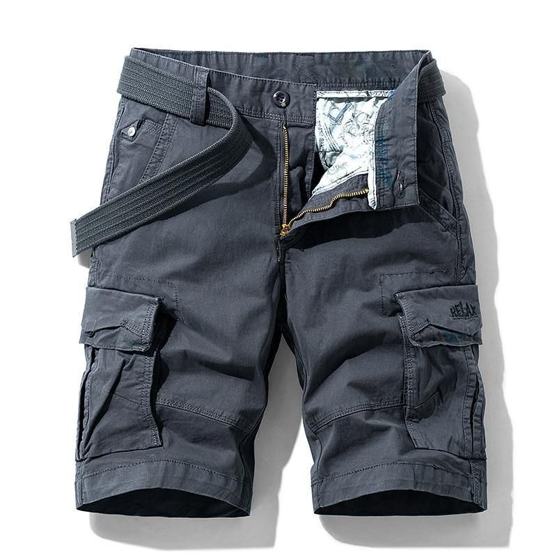Men Summer Stretch Twill Cotton Cargo Shorts For Men - Dark Gray / 28