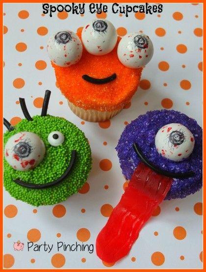 halloween cupcakes, monster cupcakes, spooky eye gumballs, eyeball - homemade halloween decorations for kids