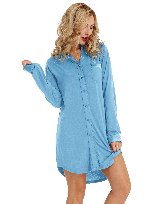 Zexxxy Women Long Sleeve Pajama Top Button Down Lapel Sleep Shirt Dress Nightgown