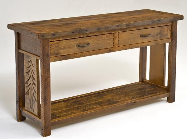This Beautiful Rustic Sofa Table Is Handcrafted With Solid Reclaimed
