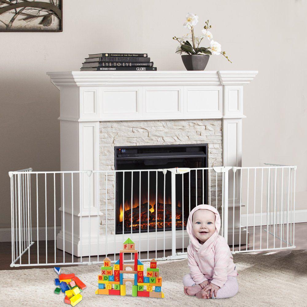 Bonnlo 194inch metal adjustable fireplace fence guard