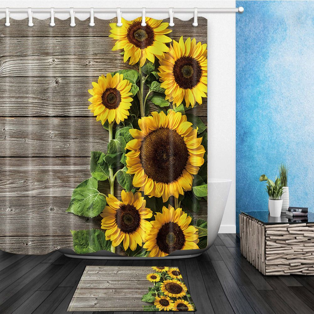 Details About Sunflower On Wooden Waterproof Fabric Home Decor