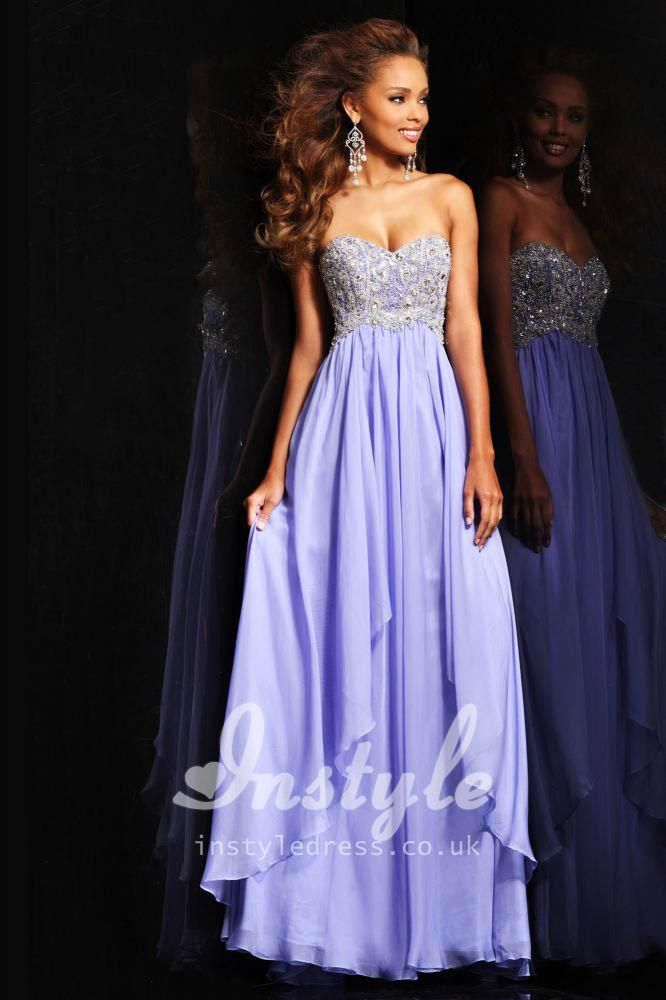 Strapless Chiffon Long Prom Dress with Beautiful Beaded Bodice and ...