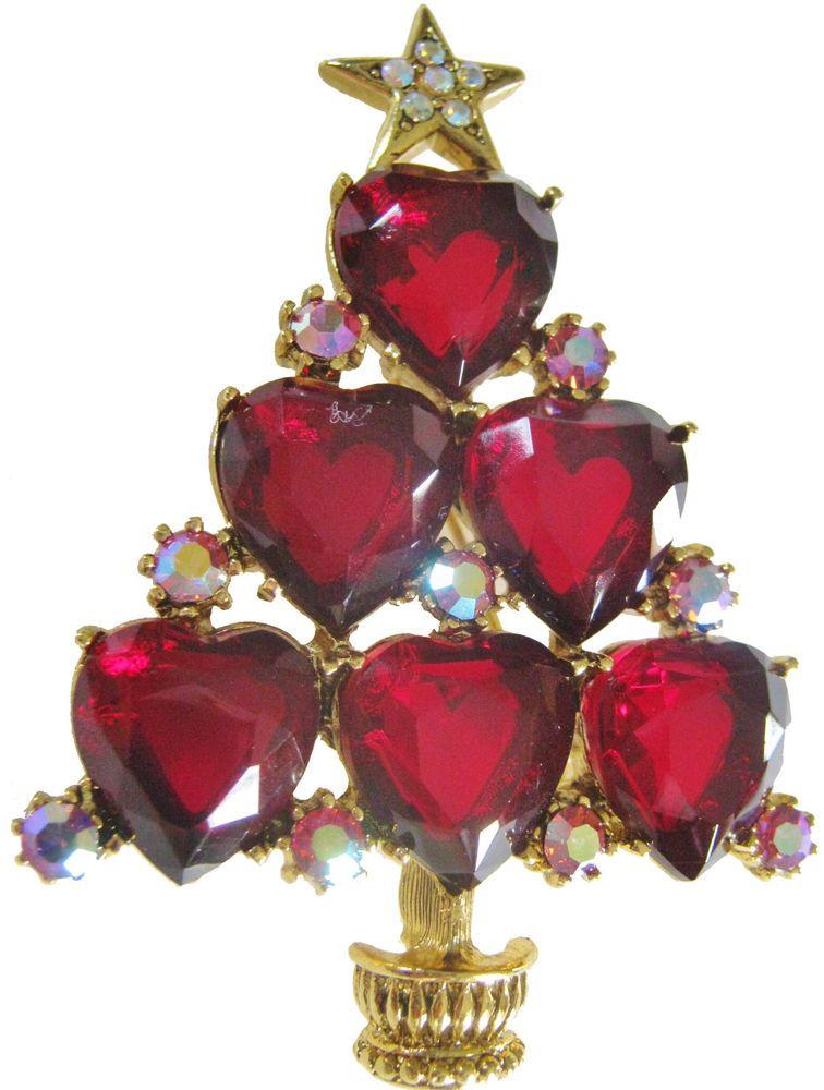 LIANNA CHRISTMAS TREE PIN RED SWAROVSKI HEARTS Christmas Tree Pins