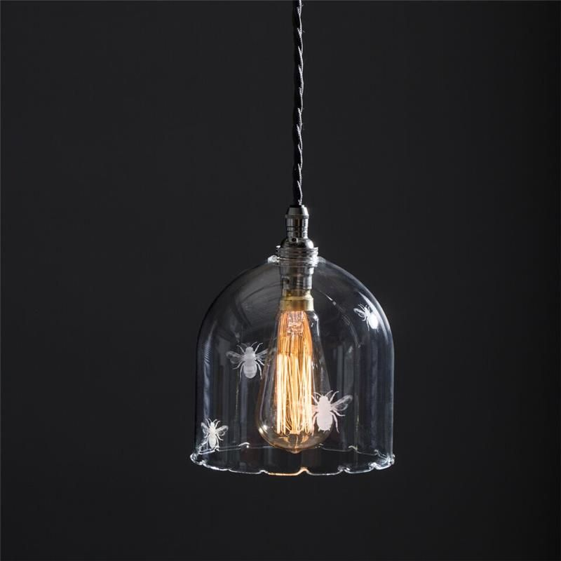 Bell Shaped Pretty Clear Glass Etched Bee Pendant Light In