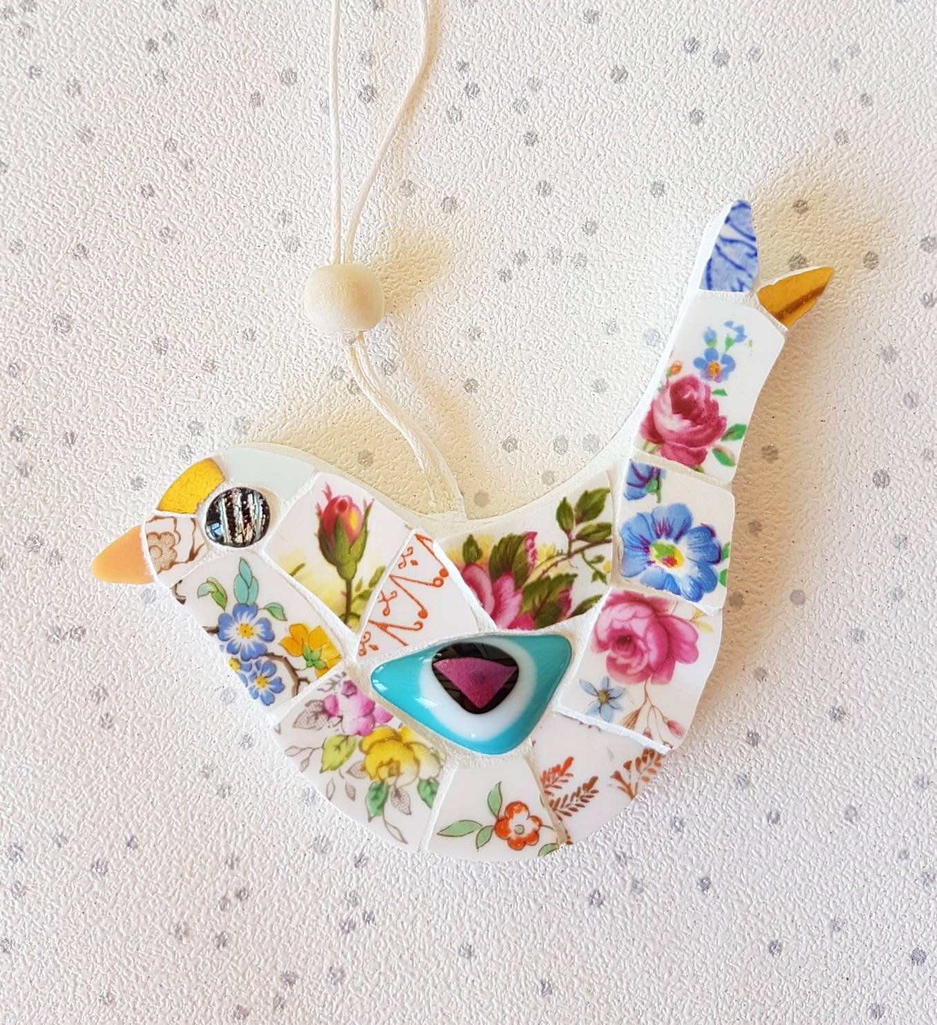 Vintage China Dove Mosaic Bird Art Hanging Garden