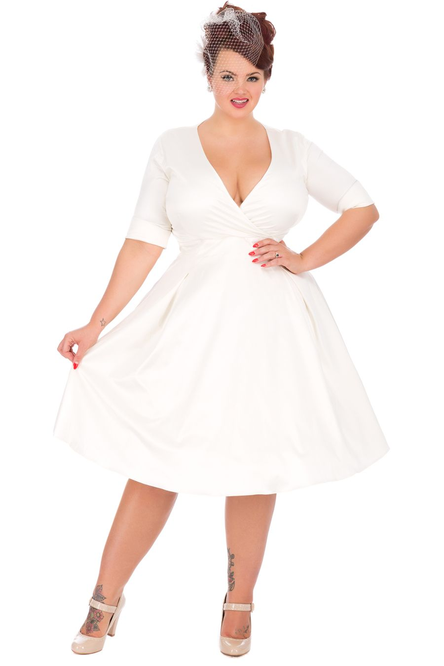 1950s Style Sleeved Ivory Marilyn Wedding Dress | Dress collection ...