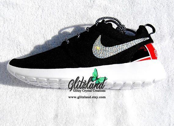 Swarovski Nike Black Roshe Run w/ Nebraska Huskers Print Heel Blinged with  SWAROVSKI® Crystals