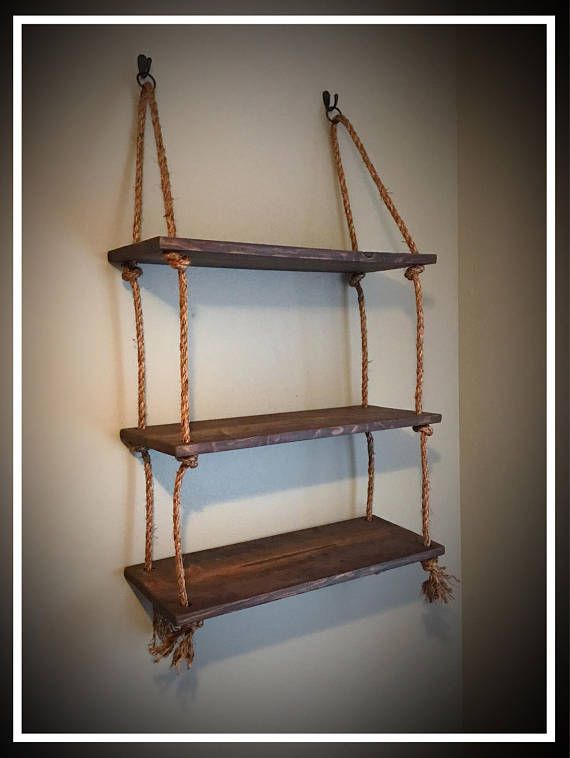 Beautiful Hanging Rope And Wood Plank Shelves Boards Are Roughly