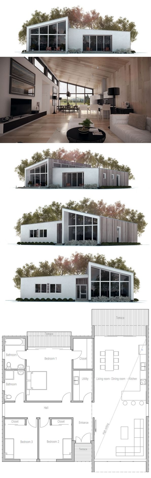 Eliminate two front bedrooms to constrict sq ft small house plan