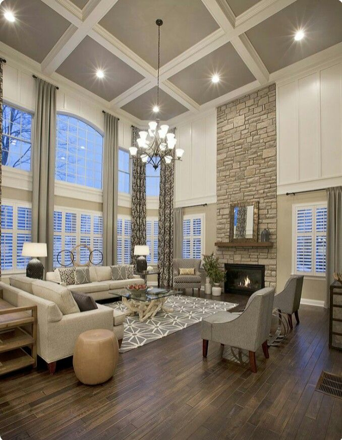 Down Ceiling Designs For Drawing Room: Great Room. Large Picture Windows. Window Wall. Custom