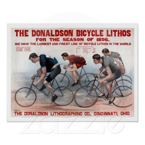 Vintage 1896 litho bicycle racing advertising posters $17.95