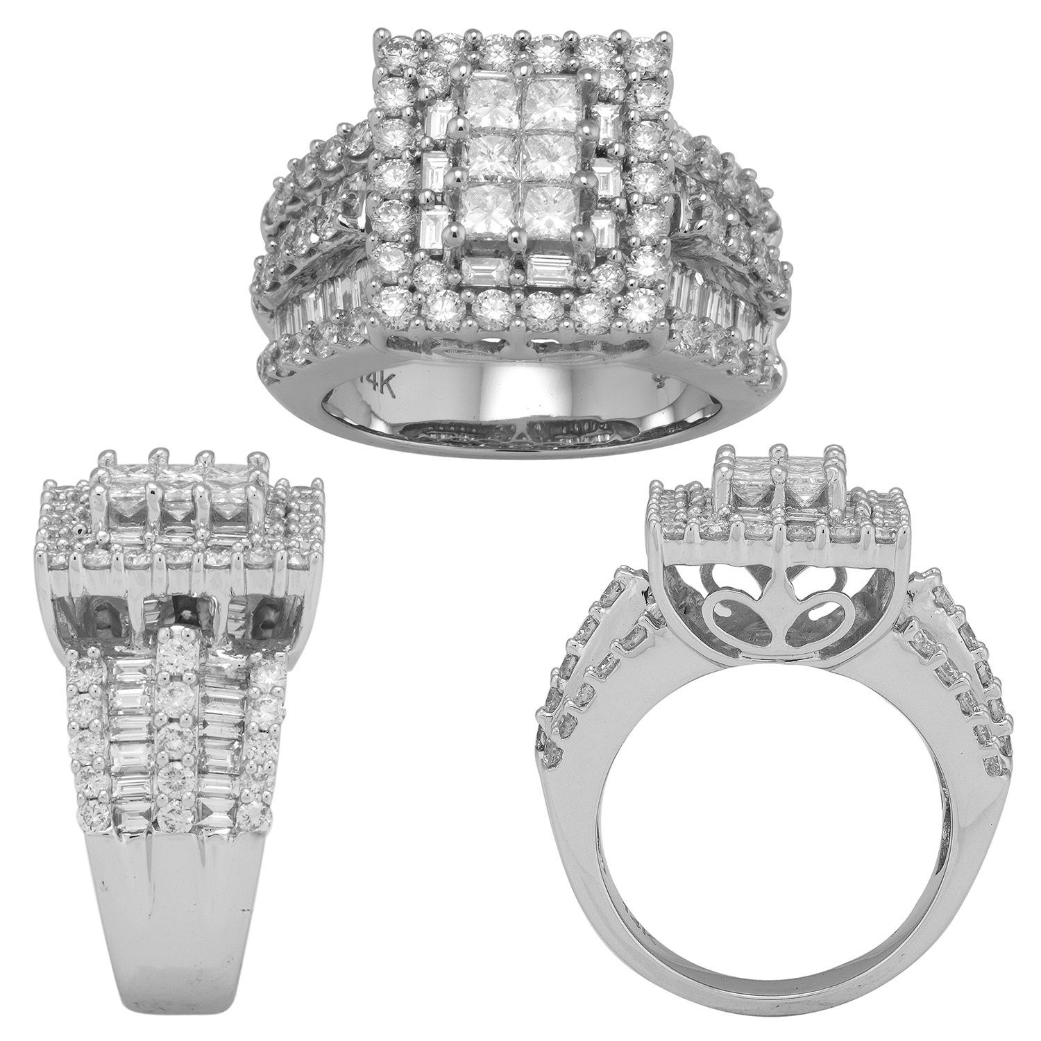 3 0 ct t w princess round and baguette diamond ring in 14k