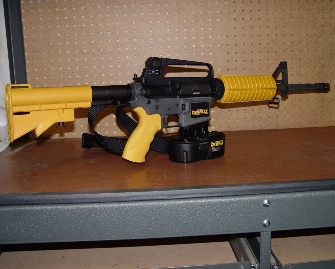 YEAH BABY!!!! A Dewalt-M16 Nail Gun! Great idea for the tool man ...
