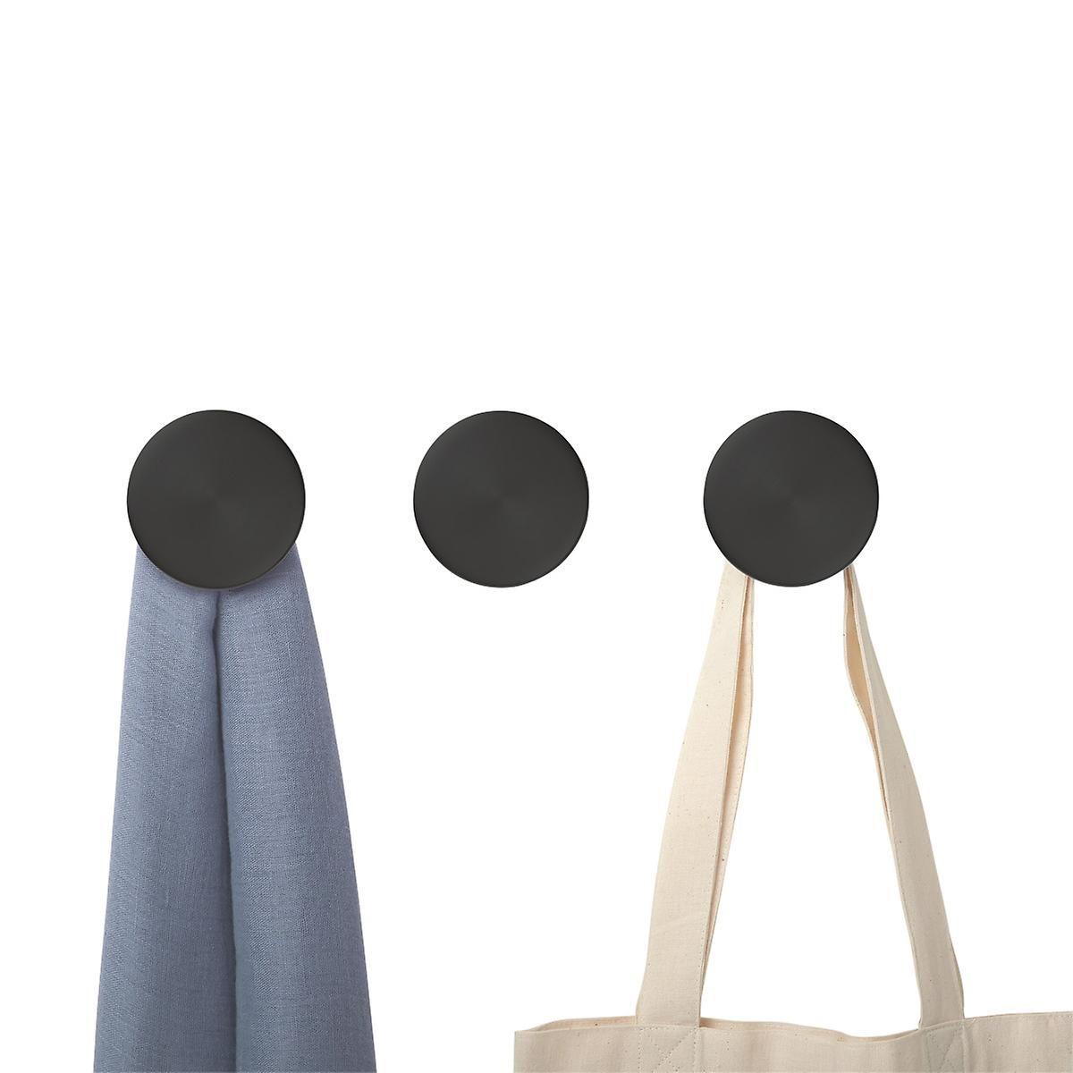 Wooden Wall Hooks Dot Charred Black Coat Hooks Set Of 3 Round