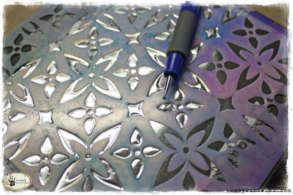 tammytutterow:  using popular stencils to emboss on metal foil tape.