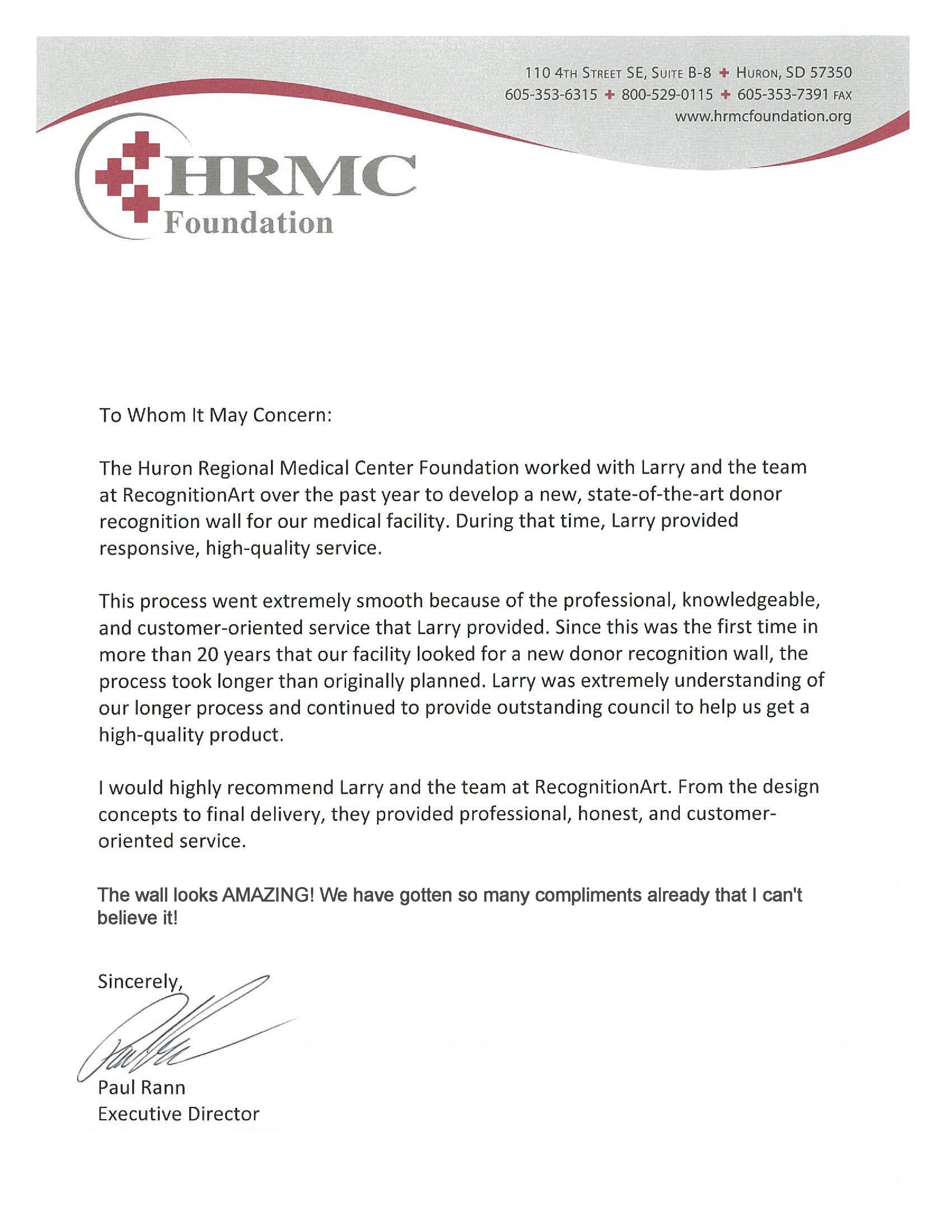 LETTER OF RECOMMENDATION - HRMC #donordisplay ...