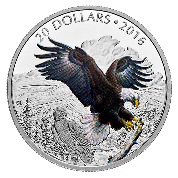 1 Oz Pure Silver Coloured Coin Majestic Animals Baronial Bald Eagle Mintage 6 500 2016 Coin Art Silver Coins Canadian Coins