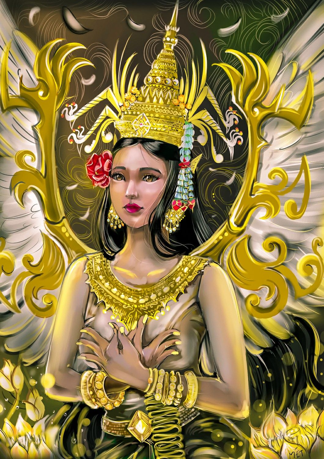 They figure prominently in the sculpture, dance, literature and painting of many South Asian and South east Asian cultures. They are often seen at major cultural sites like Angkor Wat. #Art #Cambodia #Apsara