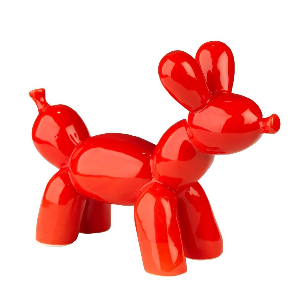 Chien d coratif en polyr sine rouge rouge bubble for Objet decoratif pour table
