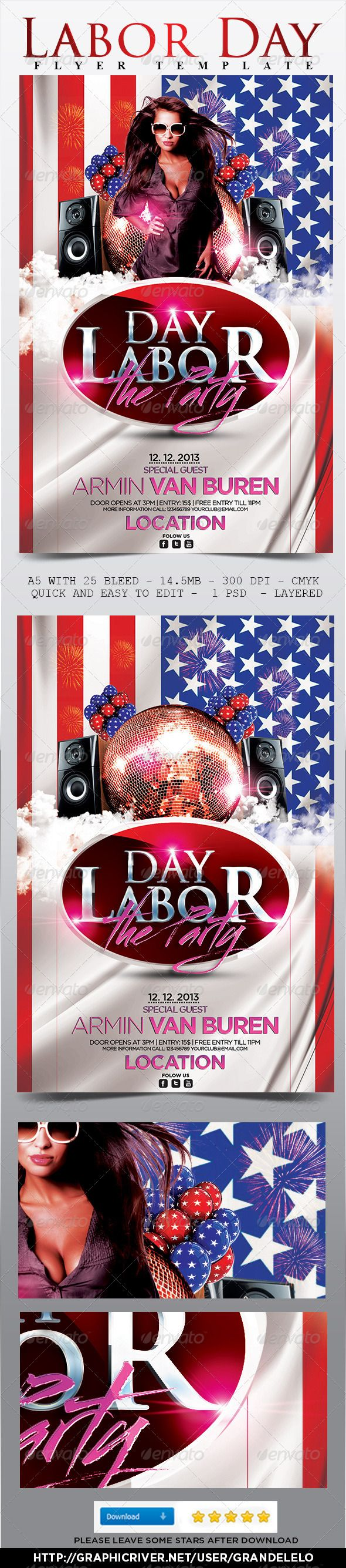 Labor Day Flyer Template | Flyer template, Labour and Party flyer