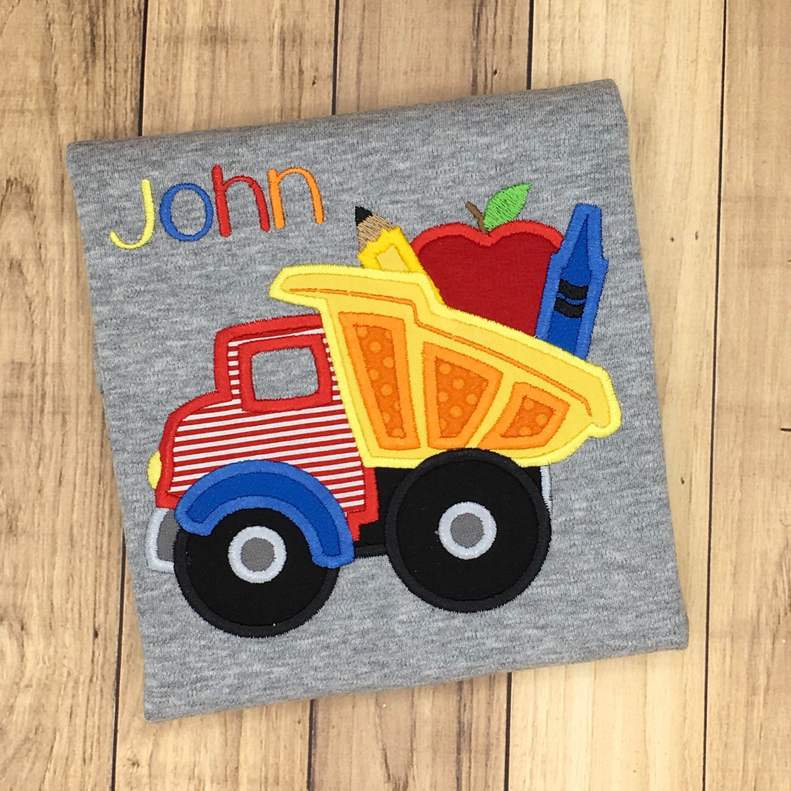 Boys Back To School Dump Truck With Crayon Apple And