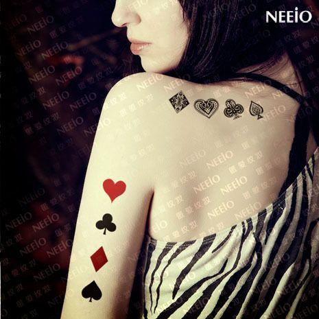 Temporary tattoos playing card poker spade club heart for Cheap tattoos las vegas