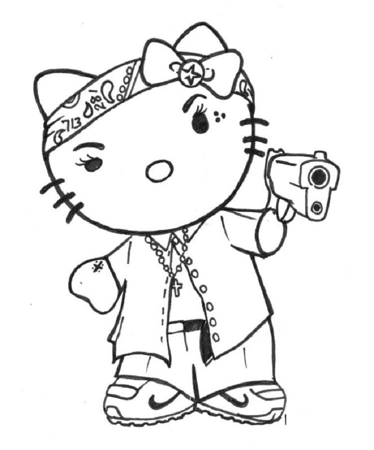 Gangster Hello Kitty Coloring Pages in 2020 | Hello kitty ...