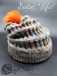Diese Mütze wird vom Bündchen zur Spitze gestrickt, wobei die Anleitung die Beschreibung für ein doppeltes Bündchen enthält, in das - ähnlich einem Tunnelzug - ein Gummiband für besseren Halt der Mütze eingezogen werden kann. Dies ist optional. #bonnets