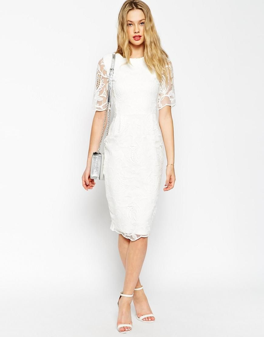 Asos asos wiggle dress with lace overlay at asos modă
