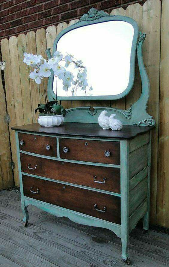 Love this redo of an antique dresser Refurbished Vanity, Refurbished  Furniture, Diy Old Furniture - Love This Redo Of An Antique Dresser For The Home In 2018
