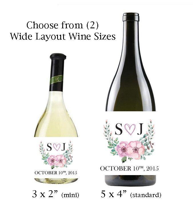 Custom Floral Mini Standard Wine Labels Personalized Wine Label - Mini champagne bottle labels template