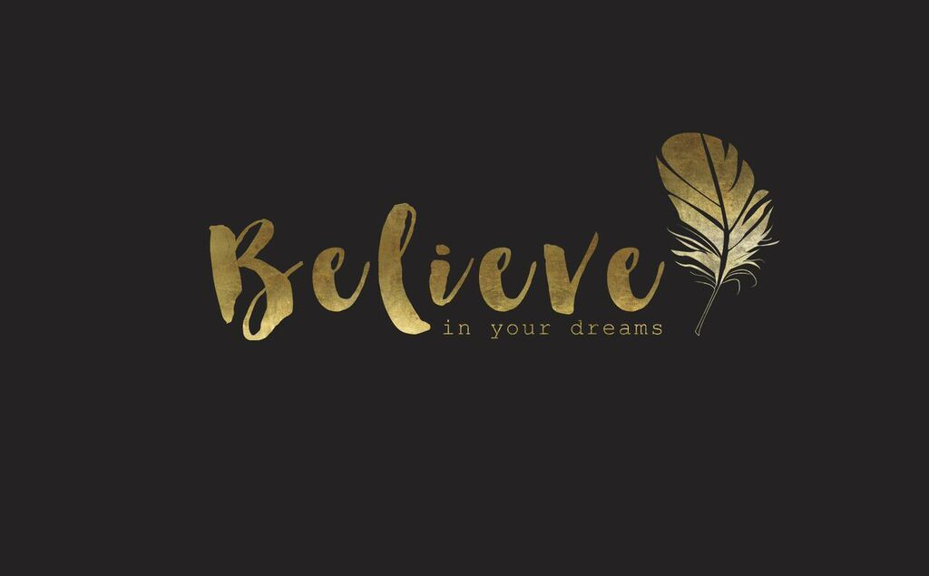 Black Gld Believe Dreams Feather Desktop Wallpaper Background